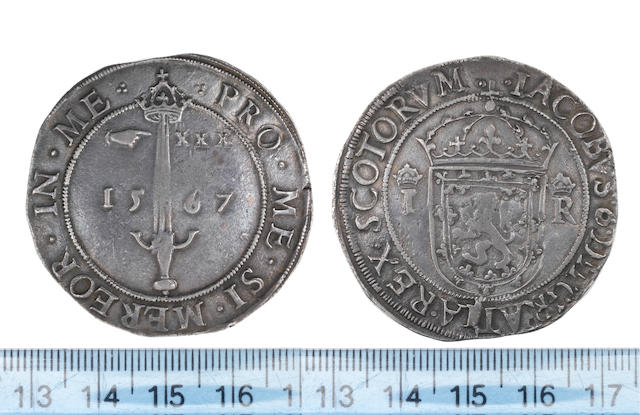 "James VI, First coinage, Ryal, or ""Sword Dollar"", 1567, Crowned shield dividing I R,"