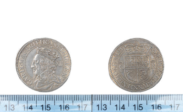 S Charles I, Third coinage, 1637-42, Twelve Shillings, King bust left to edge of coin, B at ends of legends,