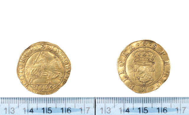 S James VI, Seventh coinage, Rider, 1594, 4.99g, King in armour with sword, on horse galloping, (S.5458).