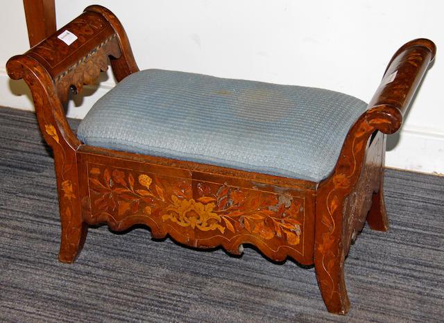 A 19th century Dutch marquetry inlaid mahogany stool