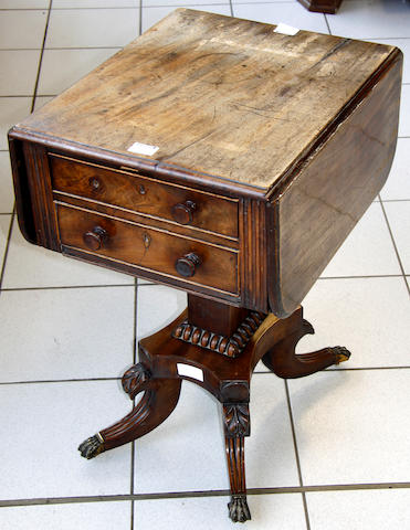A William IV mahogany drop leaf sewing table