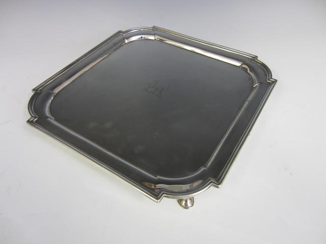 An Edwardian silver square salver by Thomas Bradbury, London 1906