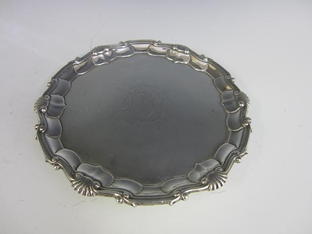A George III silver circular salver by John Carter II, London 1767