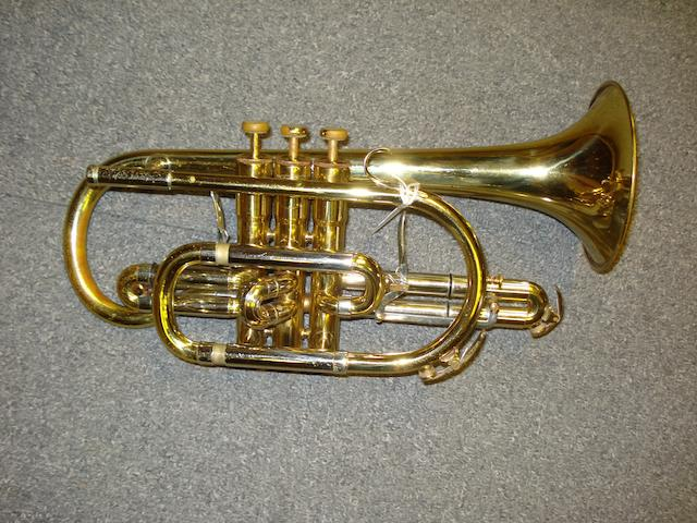An silvered three valve Eb/D German Trumpet by B&S, Markneukirchen (12)