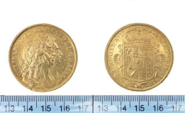 William and Mary, Five Guineas, 1692, conjoined busts, elephant and castle below,