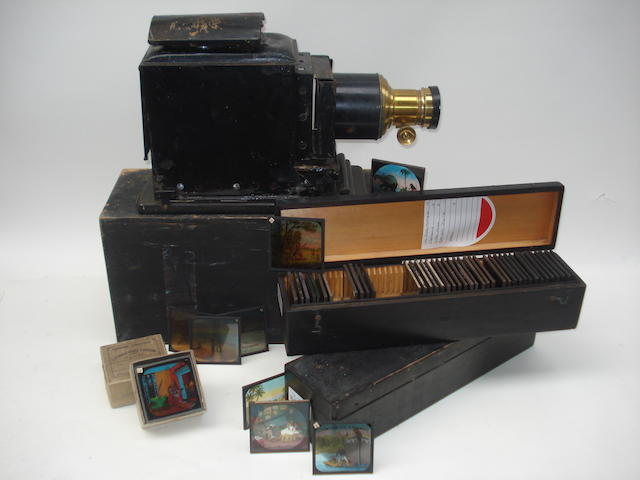 A magic lantern and collection of slides, circa 1900,