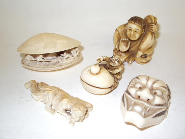 Five small ivory ornaments