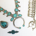 A collection of Native American Indian white metal and turquoise jewellery mid/late 20th Century,