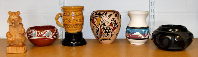 A collection of Native American Indian ceramics and carvings mid/late 20th Century,