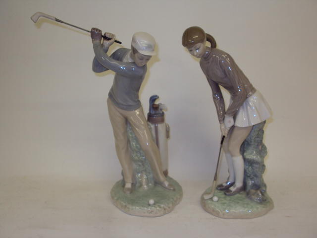 A pair of Lladro golfers