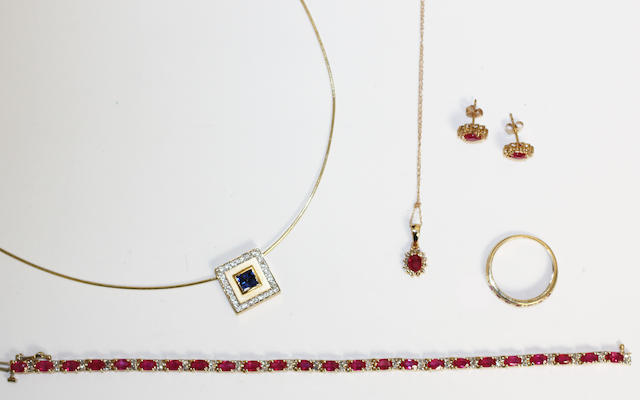 A small collection of jewellery, comprising a sapphire and diamond pendant, a ruby and diamond bracelet, ring, earrings and pendant.
