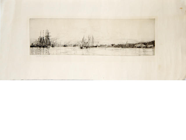 Harold Wyllie, 1880-1973, sail and steam vessels in estuary, monochrome dry-point etching and similar work, signed in pencil to margin, 9cm x 30cm approx (2)