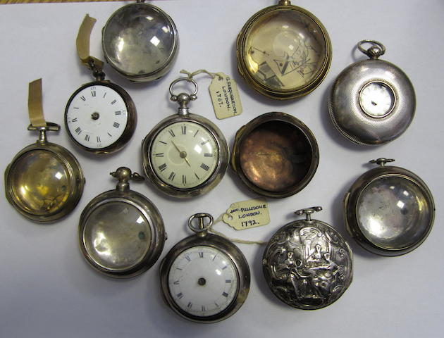 A lot of seven silver pocket watch cases, two pocket watches and two further incomplete cases