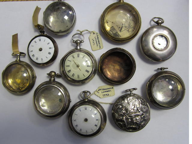 A lot of 7 pocket watch cases in silver, 2 pocket watches and 2 further imcomplete cases