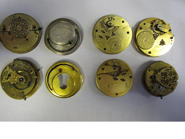 A lot of six various pocket watch movements