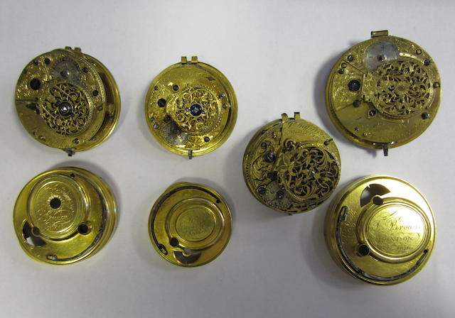 A lot of four 18th century pocket watch movements