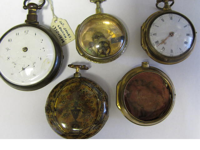 A gilt metal pair case pocket watch together with an underpainted horn case, two gilt metal cases & a gilt metal enamel dial pocket watch