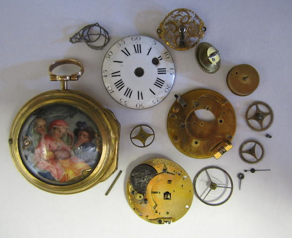 An interesting gilt metal pair case pocket watch with enamel painted portrait on the reverse (in parts and possibly incomplete)