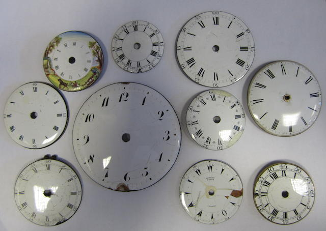 A lot of mixed pocket watch dials