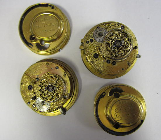 An interesting cylinder pocket watch movement by Graham's successor Thomas Colley together with an Ellicott of London cylinder movement