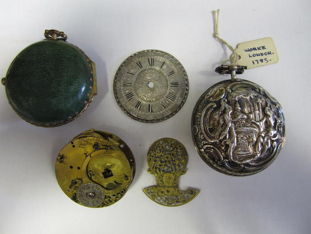 A Henry Massey verge pocket watch movement, a gilt metal & shagreen pocket watch case and a silver repousse pair case