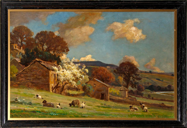 Ernest Higgins Rigg (British, 1868-1947) Sheep on a hillside with apple blossom