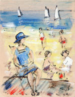 Walter John Beauvais (British, 1942-1998) Figures on a beach (unframed)