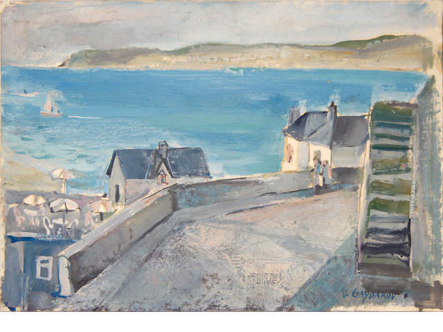 V. Gaydarov, 20th Century Harbour Six Cafe, St Ives, Cornwall (unframed), and three further unframed oil on board paintings by the same hand, and another 'Dry Farm Series' by a different hand (5)