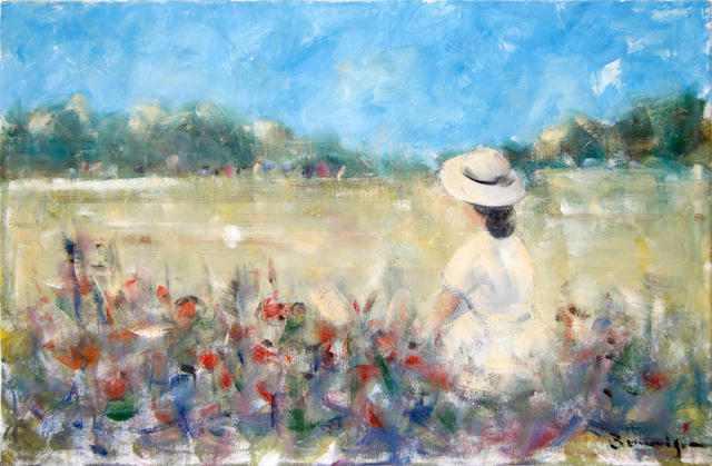 Walter John Beauvais (British, 1942-1998) Girl in a poppy field and three further works by the same hand of a similar size of figures in a field, oil on canvasboard, all unframed, (4)