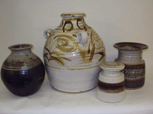 A small collection of studio pottery