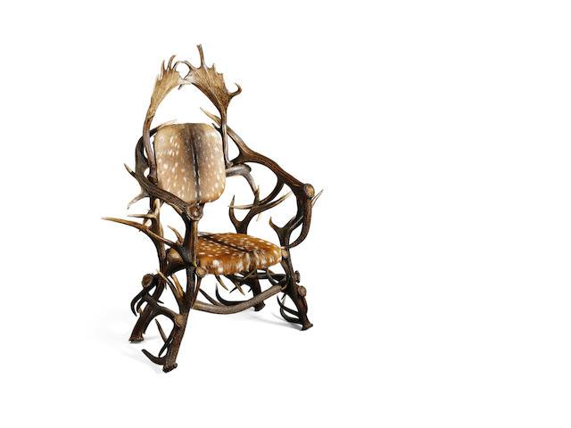 An impressive stag antler armchair