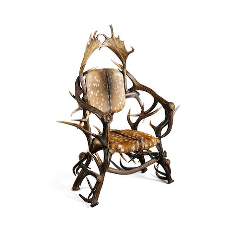 An impressive stag antler armchair