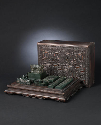 A spinach-green jade scholar's set Qianlong four-character marks