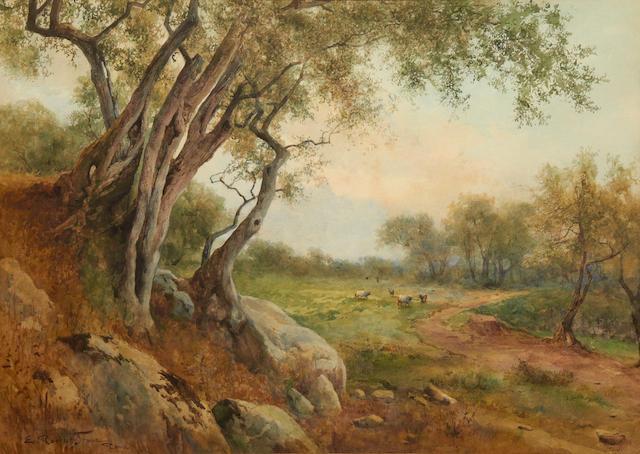 Ettore Roesler Franz (Italian, 1845-1907) Roman Campagna, Tivoli