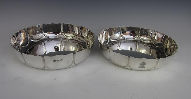 An Edwardian silver pair of strawberry dishes by T. Rossi, London 1905  (2)