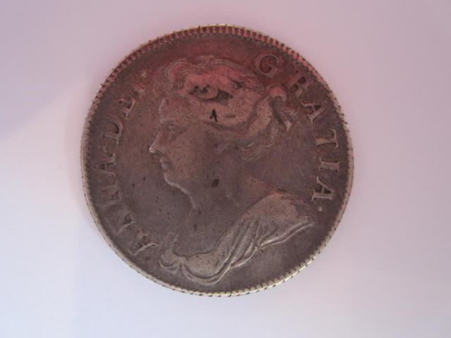 Anne, Shilling, 1708, second draped bust left,