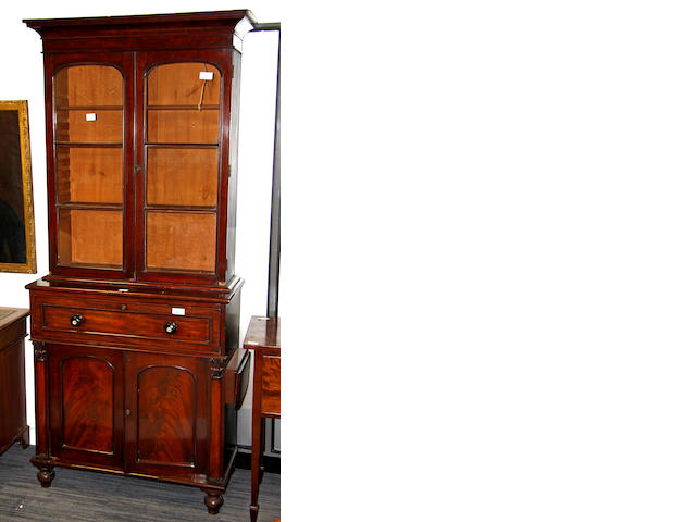 A mid 19th century mahogany secretarie bookcase