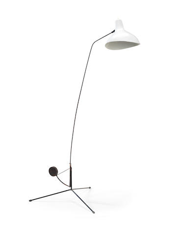Bernard Schottlander for ??? Mantis Floor Lamp designed circa 1950???  tripod base with counter weight, supports stem with white enameled aluminum shade, adjusts to six positions, original finish