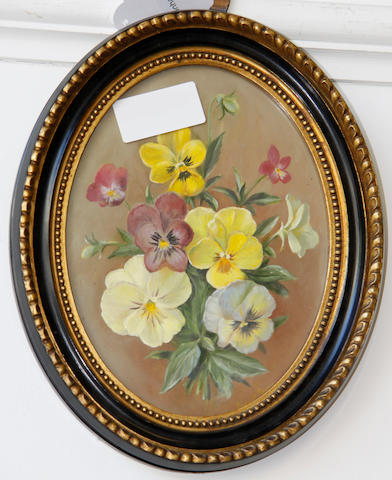 Ernest H. Payne (British, 20th Century), (1903-1994) A posy of pansies in oval form 20cm x 15cm
