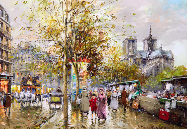 Antoine Blanchard (French, 1910-1988) 'Notre Dame and les Bouquinistes, Paris 1900'