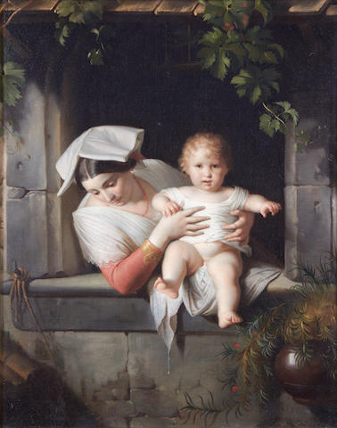 Giuseppe Mazzolini (Italian, 1806-1876) Neapolitan mother and Child
