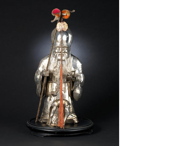 A white metal, sectional figure of Shoulao and his deer, wood stand