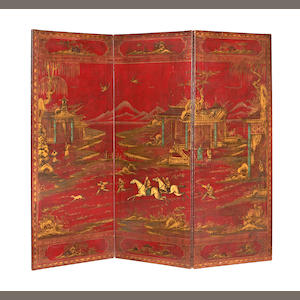 Red leather four fold Oriental screen