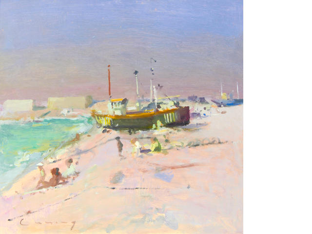 Frederick Cuming RA NEAC (British, born 1930) Beach scene with boat