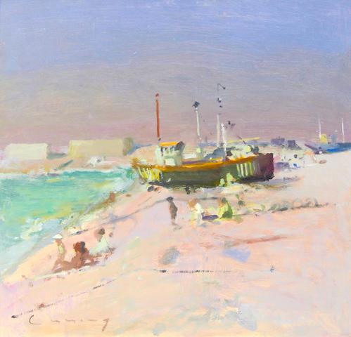 Frederick Cuming RA NEAC (British, born 1930) Beach scene with boat