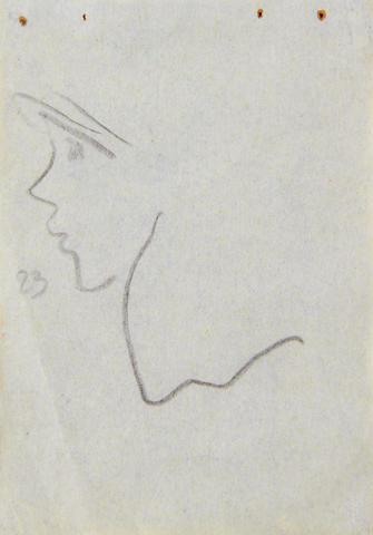 Gwen John (British, 1876-1939) Profile of a girl, circa 1920s