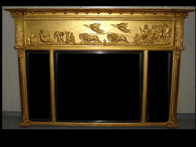 A gilt overmantel mirror