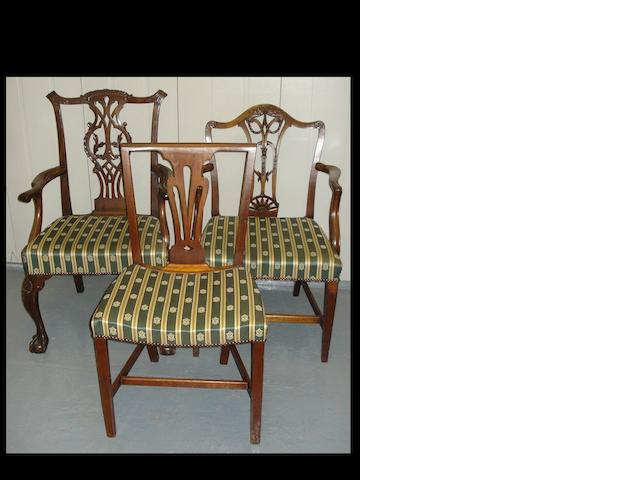 A set of six mahogany dining chairs and two elbow chairs.(8)