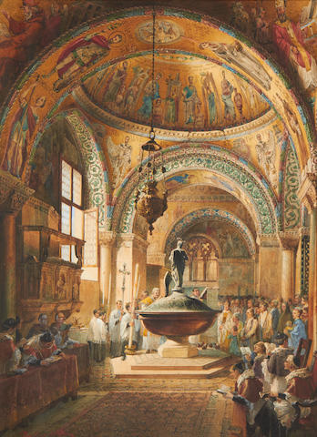 Martino del Don (Italian, 19th century) Baptism scene in St Mark's Basilica, Venice