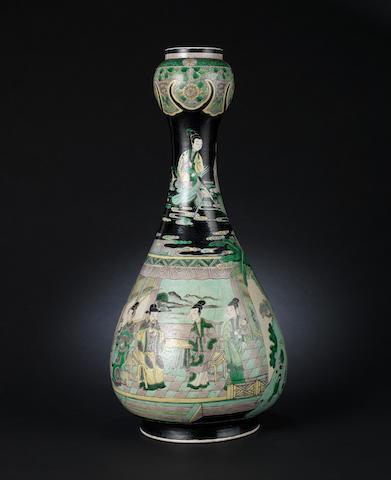 A famille noir, garlic head vase